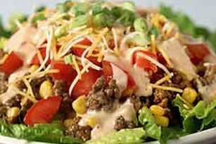 Tangy Fiesta Salad recipe  This looked yummy and easy and cool for a summer day.  Could change the dressing to any favor you like.
