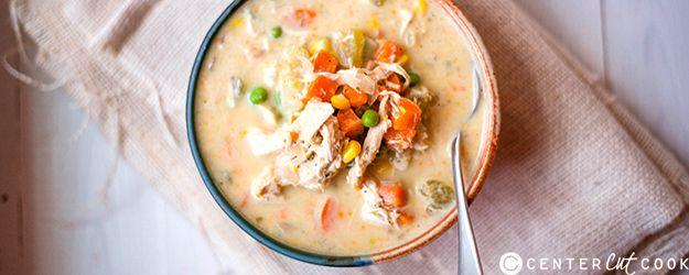 slow cooker healthy chicken pot pie stew