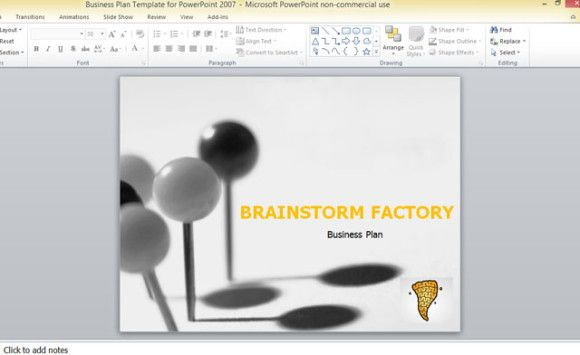 business plan template PowerPoint 2007