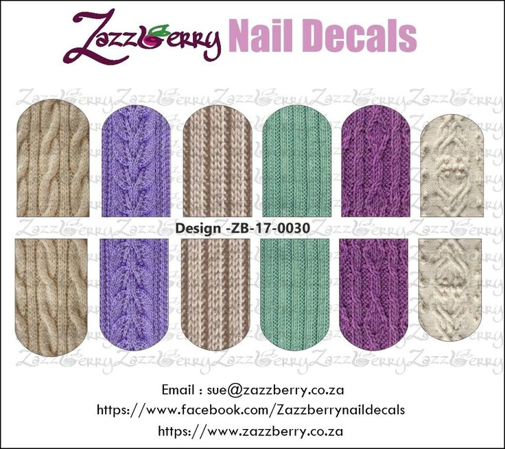 Assorted Knits Nail Decals, R45.00