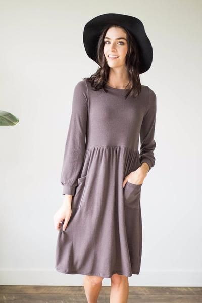 Alexis Dress in Charcoal - Nursing Friendly! – One Loved Babe