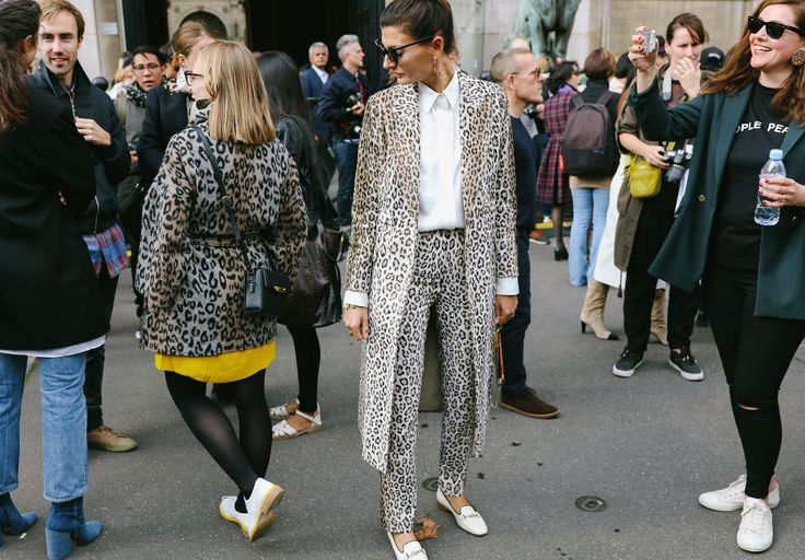 Giovanna Battaglia Engelbert in a Gabriela Hearst suit and Tod's loafers