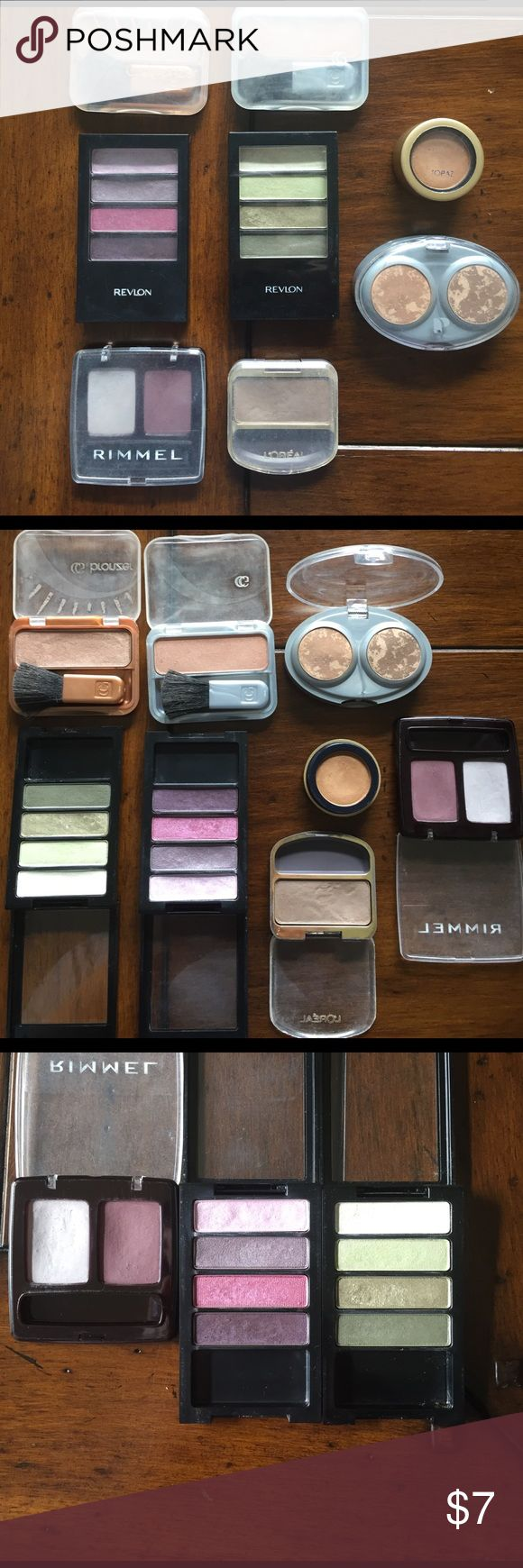 Used eyeshadow/bronzer bundle Used makeup bundle of 6 eyeshadows & 2 bronzers. All has been sanitized/sprayed with 91% isopropyl alcohol & dried. revlon palettes in berry bloom(purples) & spring moss (greens),  Rommel in orchid (purple), L'Oréal in sable (brown), iredale mineral shadow in topaz (gold), physicians formula light brown, 2 cover girl bronzers. Eyeshadows do not include the applicators. All minimally used. L'Oréal only shadow with some scratches. Open to reasonable offers. Makeup…