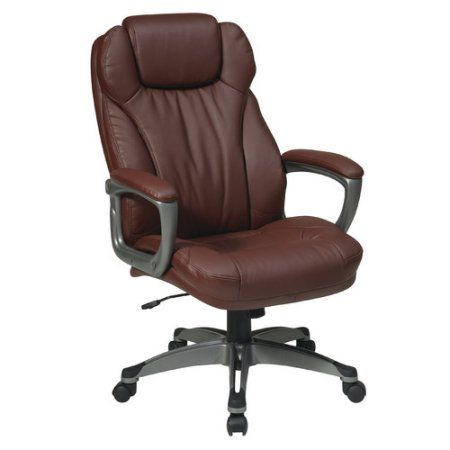 Office Star Executive Bonded Leather Chair with Padded Arms, Titanium Coated Base and Built, Adjustable Headrest, Multiple Colors, Black
