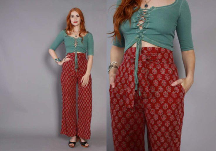 70s INDIAN Cotton High Waist BELL BOTTOMS / Rare 1970s Ultra High Waisted Batik India Trousers Pants xs