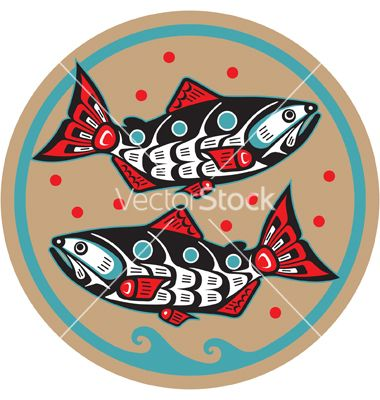 Spawning salmon - native american style vector