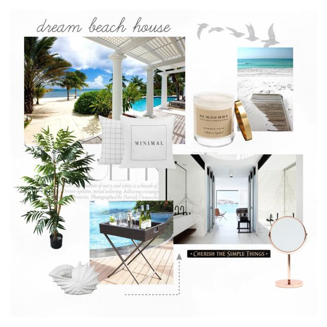 """Dream Beach House"" by eiram-schultz on Polyvore featuring interior, interiors, interior design, home, home decor, interior decorating, Dot & Bo, TradeMark, Burberry and Bloomingville"