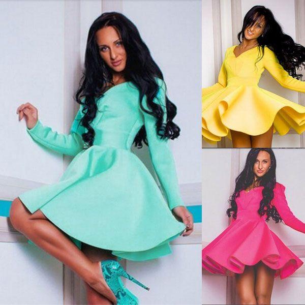 Women Sexy Long Sleeve V Neck Pleated Fashion Slim Fit Vogue Elegant Casual Sexy A-Line Mini Sundress Dress