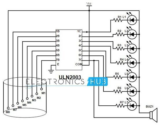 simple water level indicator with alarm (3 tested circuitsthe aim of this project is to build a water level detecting alarm circuit with simple and low cost hardware here we use 555 timer circuit in astable mode
