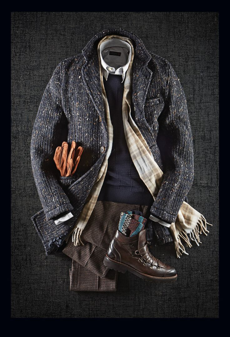 Circolo Donegal Overcoat: $798 Z Zegna Jacquard Check Knit: $450 Corneliani Polka Dot Shirt: $318 L.B.M. 1911 Mini Check Casual Pants: $328 Giulio Moretti Leather Boots: $450 Pantherella Wool Socks: $38 Van Gils Suede Gloves: $135 Begg & Co. Lambswool & Angora Scarf: $138