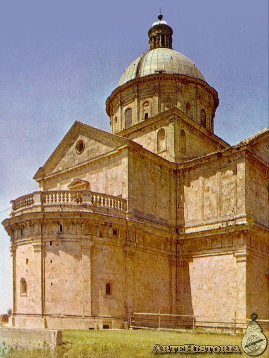 74. SANGALLO EL VIEJO:Iglesia de la Madonna de San Biagio (Montepulciano) 1519-29 , siguió el monumentalismo clasicista de Bramante cuando proyectó  la cruz griega de esta iglesia. Iniciada en 1519. Sugiere, como la iglesia de La Consolación de Todi, las directrices de Bramante para su proyecto de San Pedro del Vaticano.El machón central eleva sobre esbelto tambor apilastrado otra rotunda cúpula con linterna, queda contrapesado por los 4 brazos, de hastial plano.