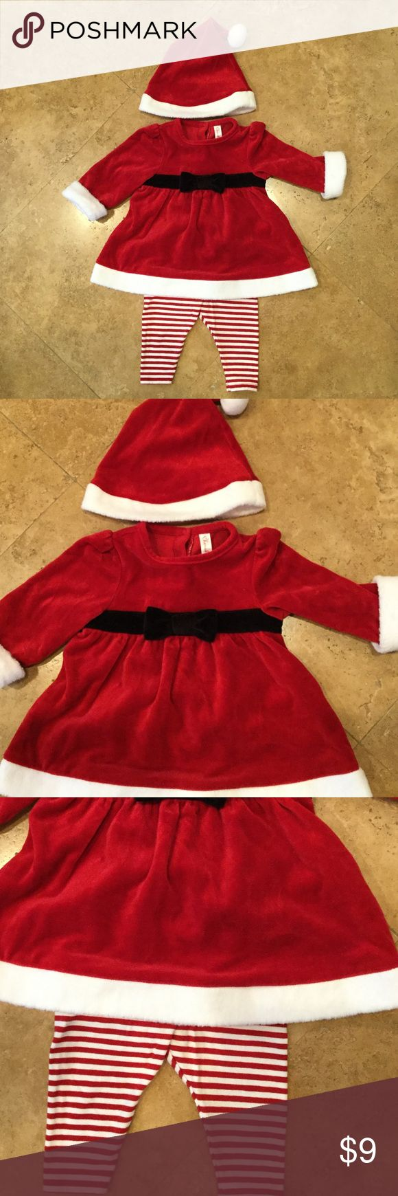 Adorable santa outfit🤶🏽🎅🏽 Adorable santa outfit. Size 3-6 mo.  Comes with hat, dress, and leggings. Dress is velvet like. Preloved euc. Bundle and save! Dresses