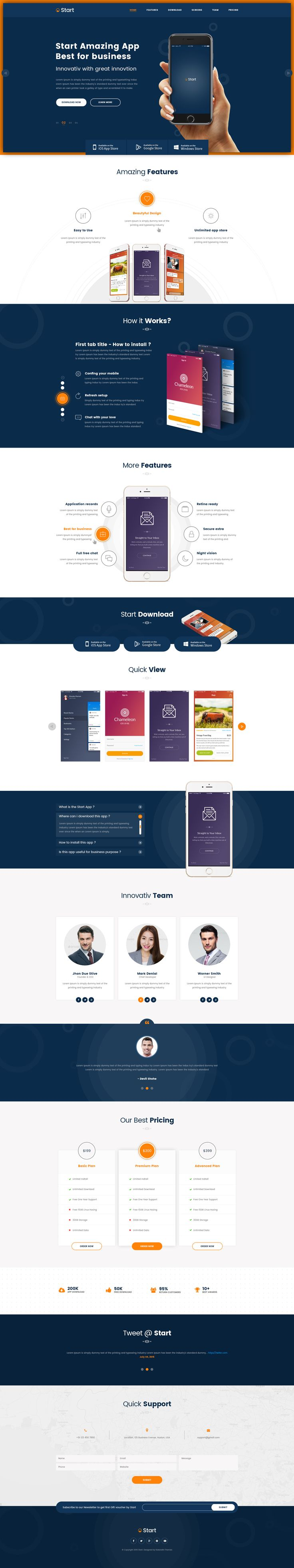 Start - App Landing Page PSD Template by Kalanidhithemes | ThemeForest