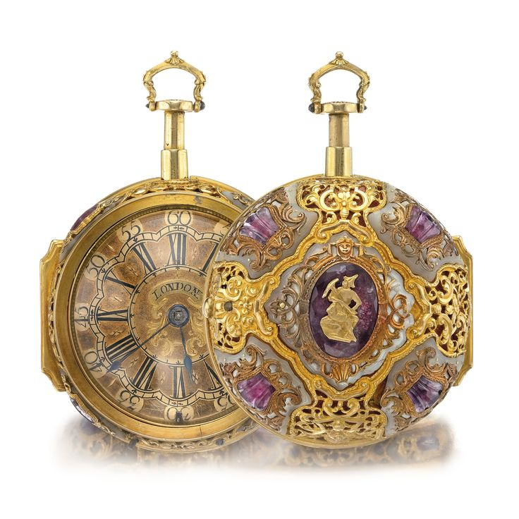 A YELLOW GOLD MOTHER-OF-PEARL AND RED STONE-SET PAIR CASED QUARTER REPEATING WATCH DUTCH FOR THE ENGLISH MARKET CIRCA 1720.