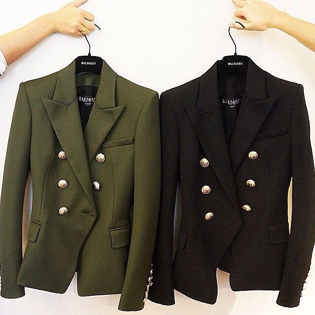 Balmain Blazers in just the right colors. Olive Green. Black