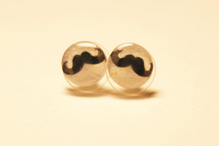 Small Moustache Pair of Stud Earrings. $10.00, via Etsy.