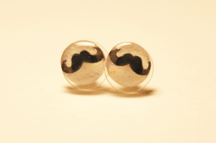Small Moustache Pair of Stud Earrings. $10.00, via Etsy.