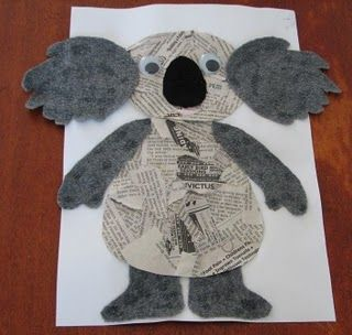 koala newspaper craft -- I would not use the template. I'd have the children cut their own.