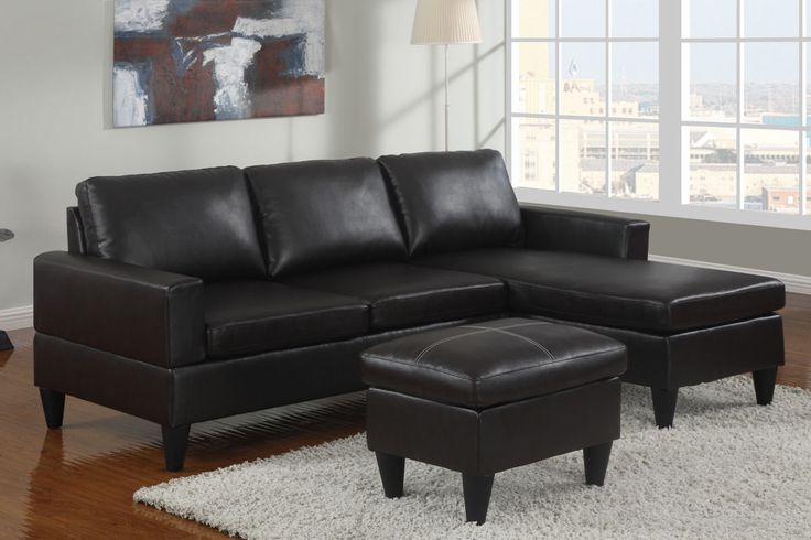 Poundex F7297 Black Faux Leather Chaise Sofa Sectional With Ottoman