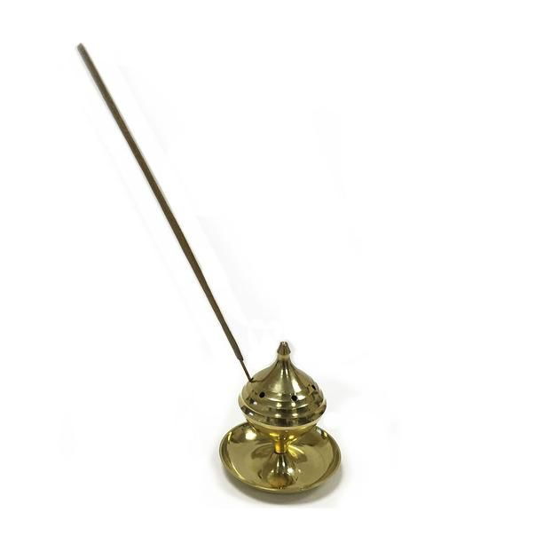 Small Brass Incense Burner - This brass polished incense burner measures 5cm in height and the base of the burner measures 4.5cm. This is great compact way of holding your incense sticks whilst they are alight.