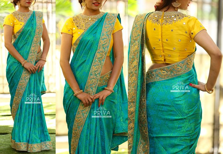 PV 3239  : Yellow Mirror Work and GreenPrice        : 7300u20b9Look pretty this season in this beautiful pink self patterned jute mix silk  finished with gold work borderUnstitched blouse piece - Yellow mirror work blouse piece as displayed in the pictureFor Orders  please drop us an email to privacollective@gmail.com or call us at 9160560480/9989888510  11 February 2017