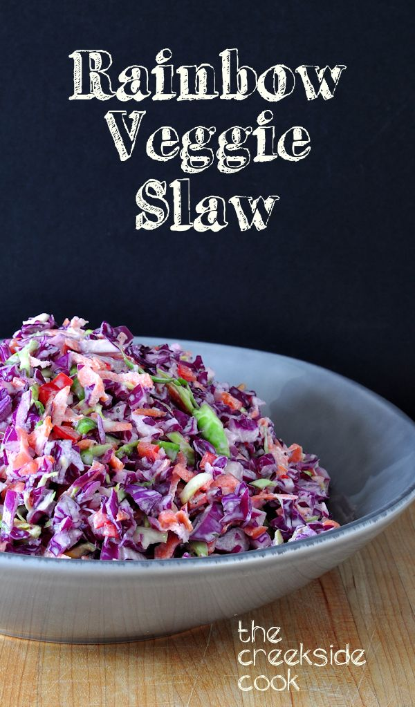 Rainbow Veggie Slaw- fresh and crunchy salad, totally adaptable to whatever vegetables you like and have on hand, with a perfectly balanced light dressing. From The Creekside Cook #cabbage #salad #brusselssprouts