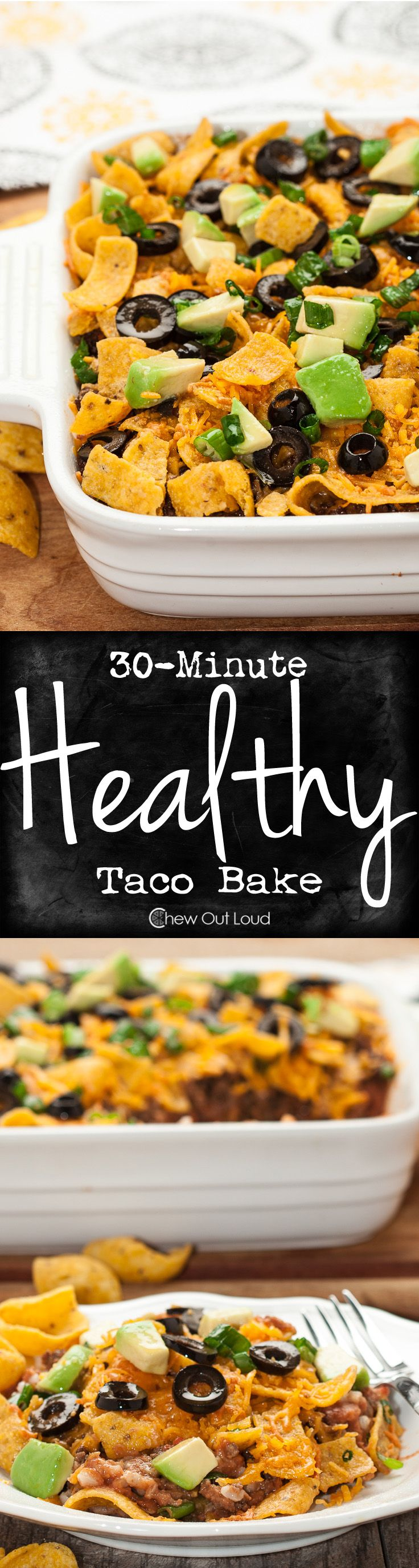30-Minute Healthy Taco Casserole is super fast, all-natural, and tastes incredible. The perfect weeknight dinner for picky eaters. #recipe #mexican #texmex