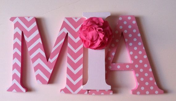 "Nursery wooden  wall letters in pink  child's name 8 "" wall letters initial monogram on Etsy, $16.00"