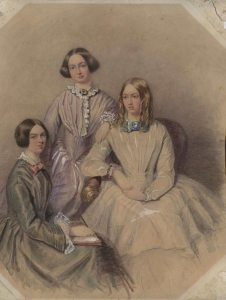 Presumed portrait of Emily, Charlotte and Anne Brontë, attributed to Edwin Landseer, ca. 1838