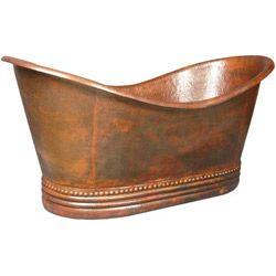 Elizabethan Classics Copper Bathtub - With Overflow, No Faucet Drillings