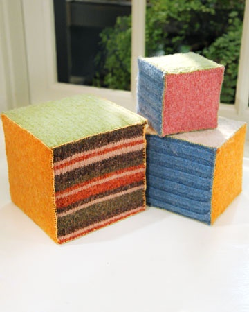 felted baby blocks from old sweaters
