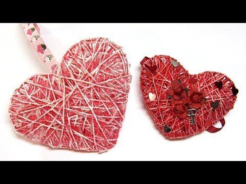 ▶ DIY: Corazones 3D de hilo o cordón. Hearts 3D yarn or cord. - YouTube