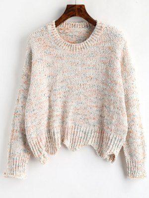 Drop Shoulder Scalloped Sweater - Multi  zaful  girlboss  fashiontrends   fashion 193f81355