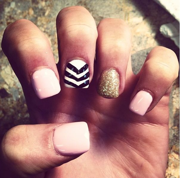 Pink gold and chevron acrylic nails