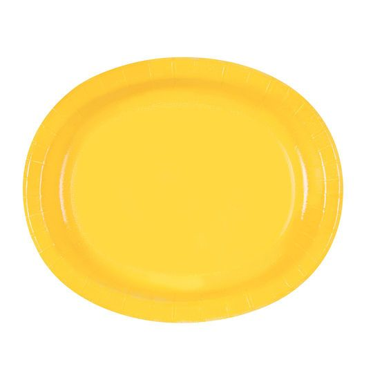 "12"" Oval Yellow Dinner Plates, 8ct"