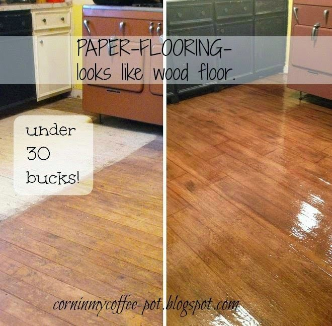 Faux Wood Flooring - Brown kraft paper, glue & polyurethane.