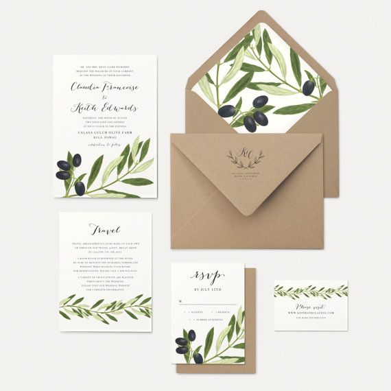 Olive Branch and Leaves Wedding Invitation Rustic by oakandorchid