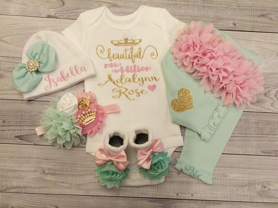 próximo inicio traje de bebé niña niña personalizada recién