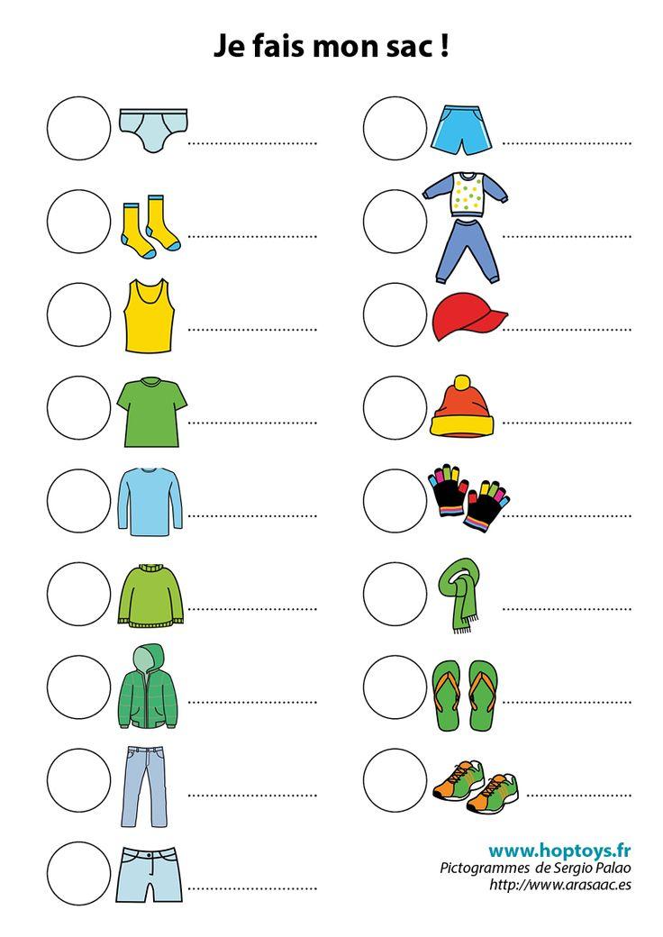 Spécial vacances : une liste en pictogrammes pour l'aider à faire son sac !