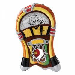 Een swingende jukebox als wandklok in je woonkamer, slaapkamer of andere ruimte in je huis. Is dat geen te gek idee? Je hoort als het ware de klanken van echte jukebox muziek in je hoofd als je naar deze unieke wandklok kijkt. Een vrolijke interieurdecoratie voor de liefhebber.