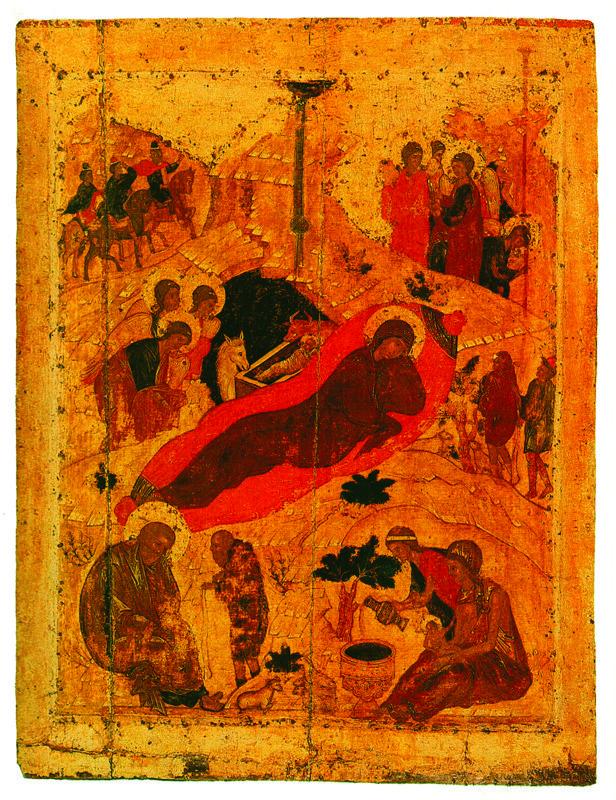 1405 г.  Рождество Христово.  Икона праздничного чина иконостаса Благовещенского собора московского Кремля.