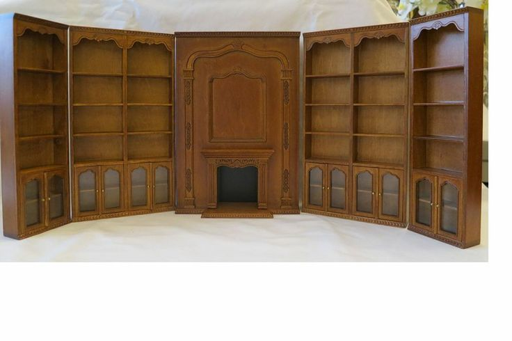 BESPAQ HighEnd Dollhouse miniature library furniture set bookcase fireplace --  clue room!