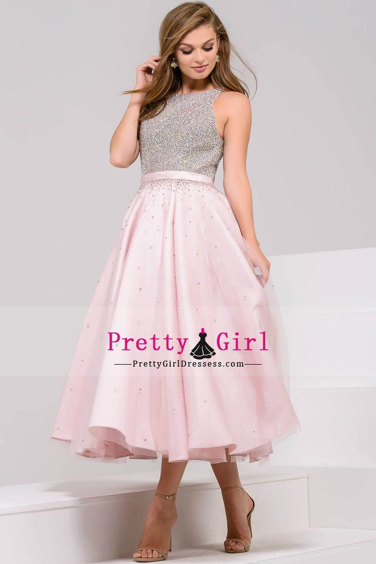 2017 Scoop Beaded Bodice A Line Tulle Tea Length Prom Dresses US$ 169.99 PGDPNXDX5N9 - PrettyGirlDressess.com for mobile