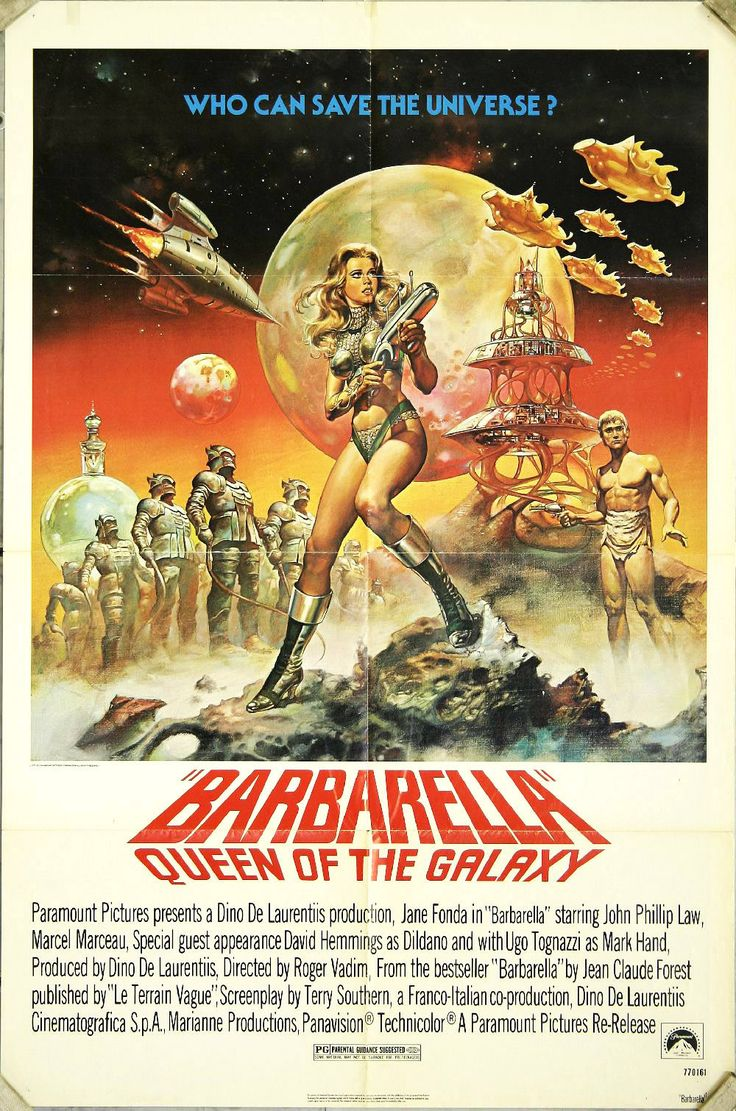 The 1968 classic sci-fi movie poster. In the year 40,000, a highly sexual woman named Barbarella is assigned to find and stop the evil Doctor Durand-Durand in order to save the Earth. Starred by Jane Fonda, Barbarella is the ultimate sci-fi adventure heroine all the time - smart, strong and sexy.