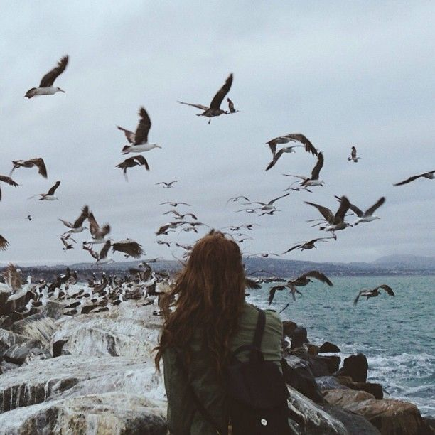 take me to the ocean.. (apparently I love this type of picture: back facing, long hair blowing in the wind, oceanic view in the background)