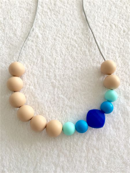 Silicone teething necklace - ocean and oatmeal