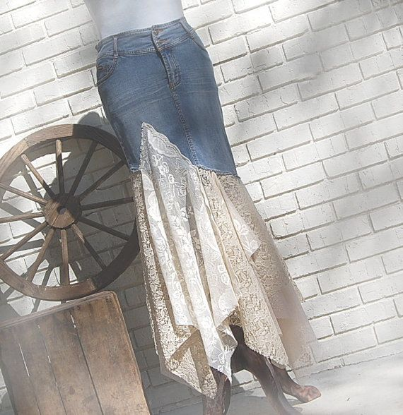 Denim Lace Skirt Tattered Hippie Fairytale by GallimaufryClothing, $78.00