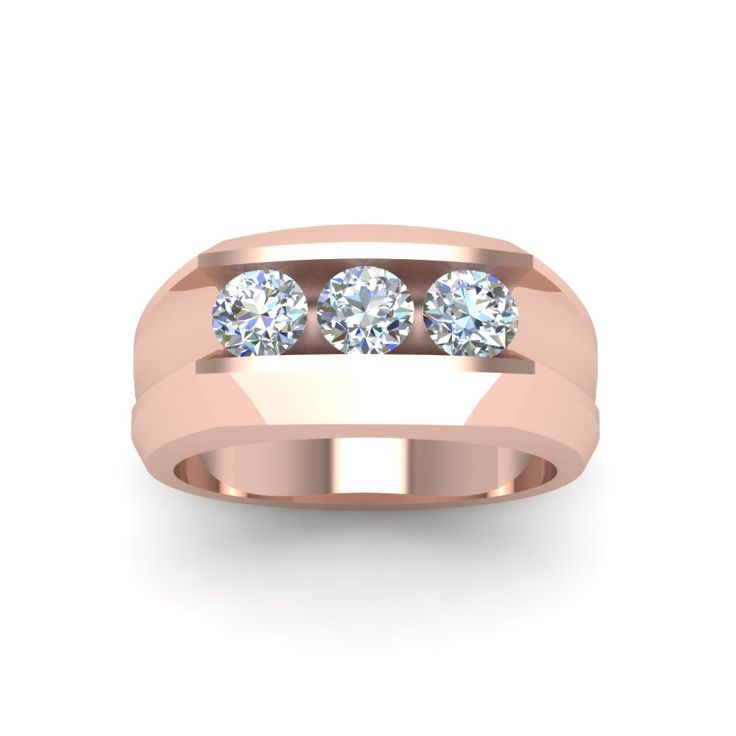Mens Three Stone Diamond Wedding Anniversary Gifts With Diamonds In 14k Rose Gold Exclusively Styled By