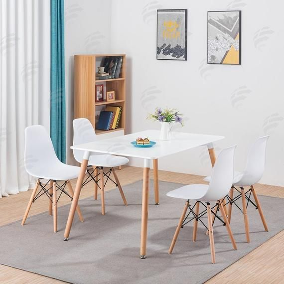 Dining Set 4 6 Dining Chairs Table Modern Eiffel Retro Designed