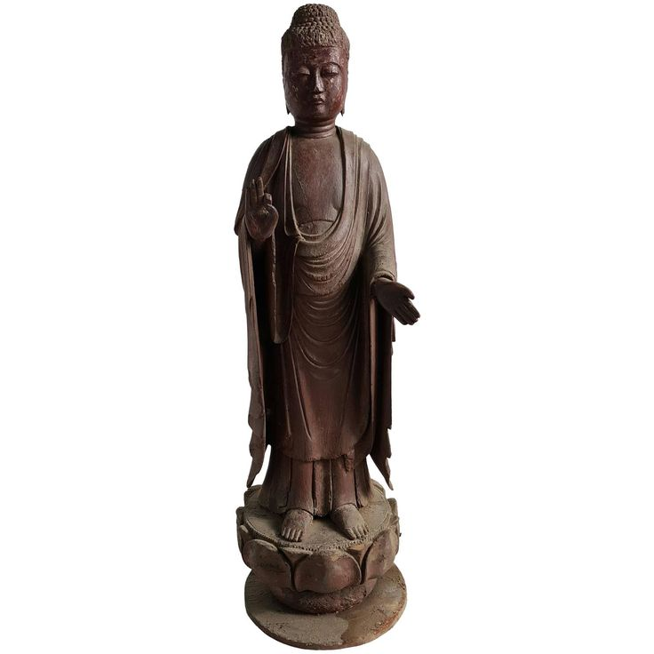 """19th Century Japanese Carved Wood Buddha Figure Standing on Lotus """"Amida"""" 